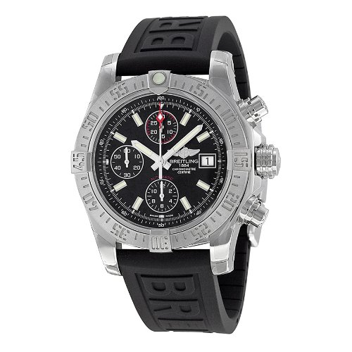 Breitling Avenger II Black Dial Chronograph Black Rubber Automatic Mens Watch A1338111-BC32BKPD3