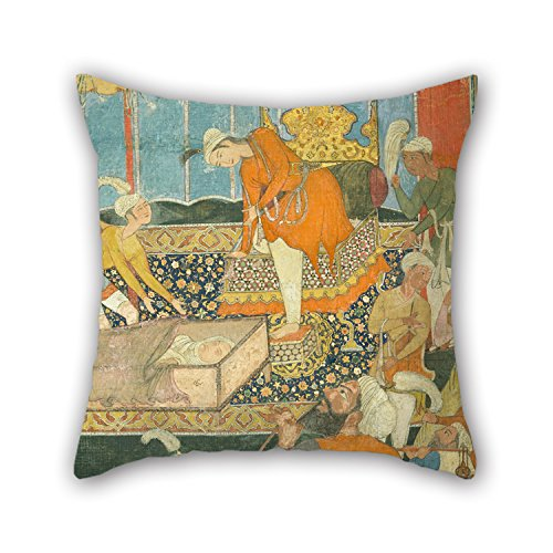 [Artistdecor Oil Painting Unknown, India, 16th Century - Illustration From The Qissa-i Amir Hamza Pillowcover 18 X 18 Inches / 45 By 45 Cm For Play Room,car Seat,couch,kids Boys,couples,bar With] (16th Century Costumes For Sale)