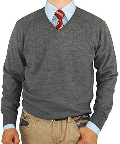 Luciano Natazzi V-Neck Merino Wool Sweater Soft Like Cashmere Trim Fit (3X-Large, Charcoal) (Italian Cashmere Sweater compare prices)
