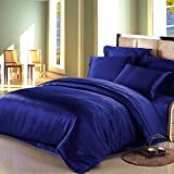 Dream Bedding Satin Silk Sheet Set 6 Pcs, Silk Bed Sheets, Luxury Bedding Sets -Ultra Soft, Hypoallergenic, Durable-100% Top Grade Silk Twin XL, Blue