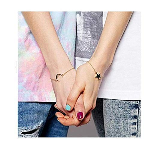 Sumanee 2pcs Trendy Friendship Best Friends Sister Moon & Star Charm Bracelet Chain (Moon And Star Charm Bracelet)