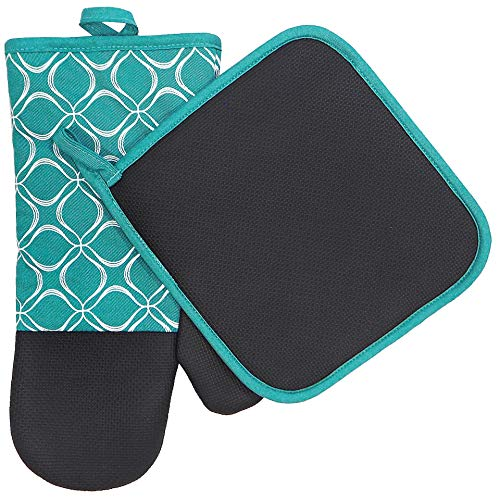 EnjoyLife Inc Shaped Oven Mitts Pot Holders Set of 2 Kitchen Set Cotton Neoprene Silicone Non-Slip Grip, Heat Resistant, Oven Gloves BBQ Cooking Baking, Grilling, Machine Washable (Blue Neoprene)
