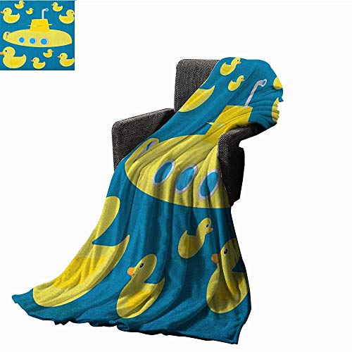 """WilliamsDecor Bed or Couch 60"""" x 35""""Rubber Duck Cozy Flannel Blanket Duckies Swimming in The Sea with a Yellow Submarine Kids Party Nautical Print Plush Throw Blanket Navy Blue"""