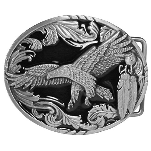Scroll Eagle - Soaring Eagle with Western Scroll Border Belt Buckle