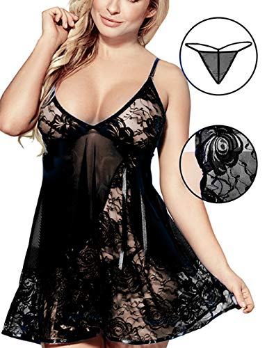 Sex Moment Women Babydoll Lingerie Set Plus Size Lace Sleepwear Mesh Chemise Black XL