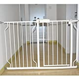 Fairy Baby Safety Metal Walk-Thru Gate,Fits Spaces between 57.48'' and 62.20'' Wide,White