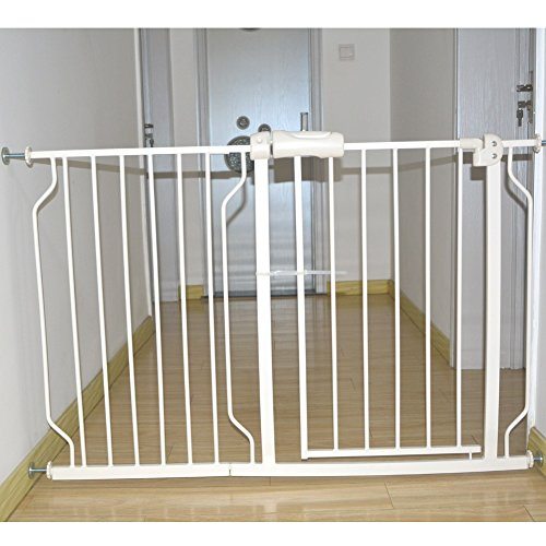 Fairy Baby Safety Metal Walk-Thru Gate,Fits Spaces between 52.75' and 57.48' Wide,White