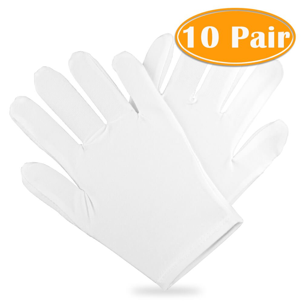 Paxcoo 100% Cotton Gloves for Dry Hand Cosmetic Moisturizing Coin Jewelry Inspection Hand Spa – Medium Size (10 pair)