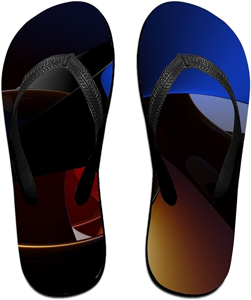 Couple Flip Flops Circle Abstract Print Chic Sandals Slipper Rubber Non-Slip Spa Thong Slippers