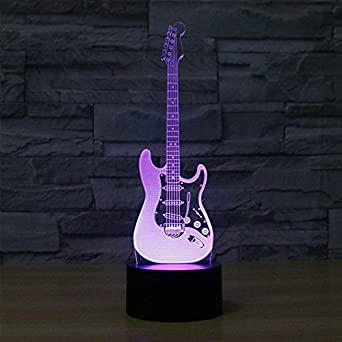 3D LED RGB cambiante luz nocturna Luminaria LED Novedad Guitarra eléctrica Abajur LED USB Power Bank Laval Lámpara de mesa Kids: Amazon.es: Iluminación