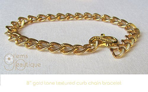 GemsBeautique Gold Tone Textured Curb Chain Link 6