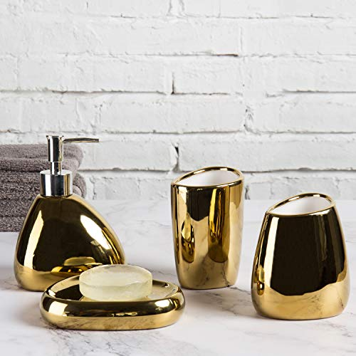 MyGift 4 Piece Modern Gold Ceramic Bathroom Accessory Set (Black And Gold Bath Accessory Set)
