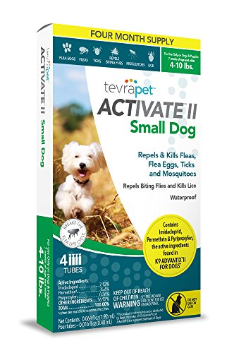 TevraPet Activate II Flea and Tick Topical for Small Dogs 4-10 lbs, 4 Dose Flea and Tick Prevention. Waterproof Flea and Tick Drops for 4 months of Flea and Tick ()