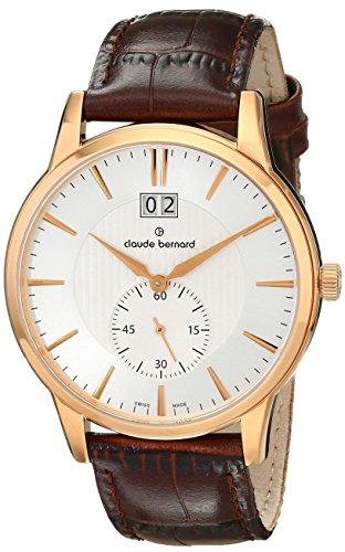 Claude Bernard Men's 64005 37R AIR Classic Gents Analog Display Swiss Quartz Brown Watch