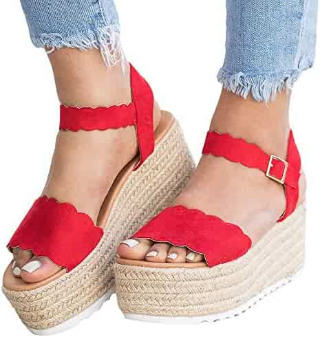 d3264ea5ab6 Syktkmx Womens Platform Strappy Sandals Low Wedge Heeled Ankle Strap Summer  Espadrilles