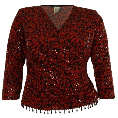 MSK Women's Sequined Beaded V-Neck Jersey Blouse (2X, Red/Black)