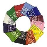 12 Pieces Bandana - HYHP Cowboy Bandana Headscarf Bandanas (12 Colors, One Piece for Each Color)