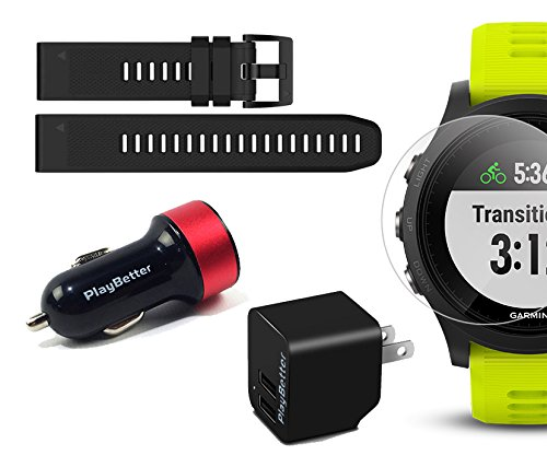 Garmin Forerunner 935 (Tri Bundle) Power Bundle | Includes HRM Tri & Swim Chest Straps, Glass Screen Protector (x2), Extra Silicone Band (Black), PlayBetter USB Car/Wall Adapters | GPS Training Watch