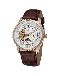 Forsining Men's Automatic Leather Strap Moon Phase Wrist Watch FSG034M3R2