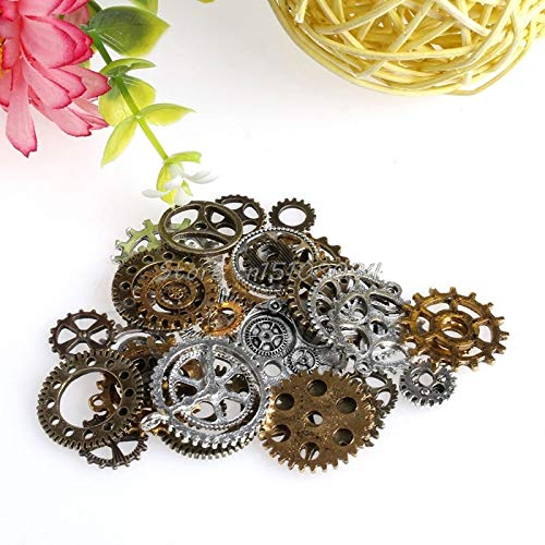 42Pcs Vintage Alloy Parts Steampunk Jewellery DIY Art Crafts Cyberpunk Cogs Gears For viewing S08