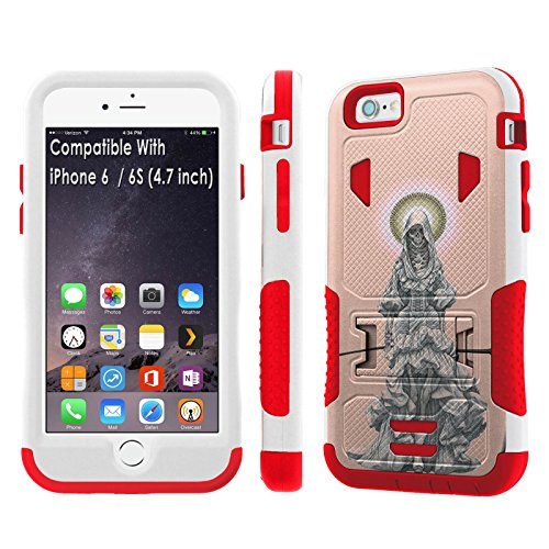 [Mobiflare] Apple iPhone 6/6S [4.7 inch] [White/Red] Dual Layer Armor Case [Kickstand] [Santa Muerte Print] (Iphone Santa Case Muerte 6)