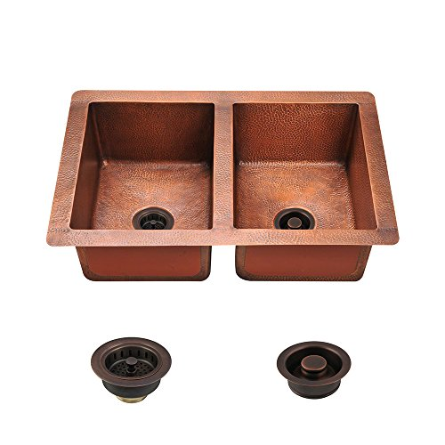 MR Direct 902 Copper Equal Double Bowl Undermount Kitchen Sink Ensemble with Copper Strainer and Flange (Bundle - 3 Items: Sink, Strainer, and Flange)