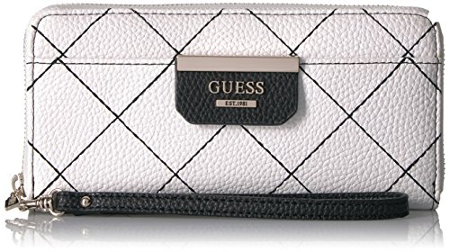 GUESS Bobbi Bw Large Zip Around, White/Black by GUESS