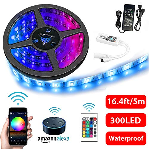 Wifi Smart Strip Light, Sisyphe LED RGB Light Strip with Wireless Remote Power Supply Waterproof IP65 16.4FT 300 LED 5050 Tape Light Kit Compatible with Alexa Google Home, Phone iOS Android Control