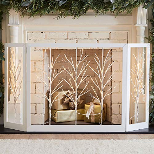 BrylaneHome Lighted Birch Twig Decorative Screen - White
