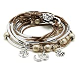 Boho Silverplated 4 Strand Metallic Bronze Leather Wrap Bracelet with Om Charm Trio (Large)
