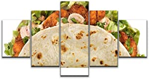 XEPPO 5 Panels Wall Art Print On Canvas Cajun Fish Taco, Isolated on White Mexican Food Stock Pictures, Modern Abstract Picture Poster for Home Decor Stretched and Framed Ready to Hang (60''Wx32''H)