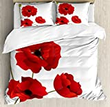 Ambesonne Floral Duvet Cover Set Queen Size, Poppy Flowers Vivid Petals with Buds Pastoral Purity Mother Earth Nature Design, Decorative 3 Piece Bedding Set with 2 Pillow Shams, Red Green