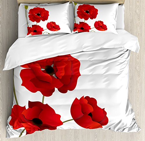 Poppies Quilt Fabric (Ambesonne Floral Duvet Cover Set Queen Size, Poppy Flowers Vivid Petals with Buds Pastoral Purity Mother Earth Nature Design, Decorative 3 Piece Bedding Set with 2 Pillow Shams, Red Green)