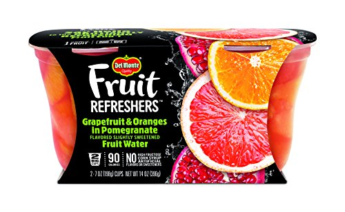 Del Monte Fruit Refreshers Snack Cups, Grapefruit & Oranges in Pomegranate Fruit Water, 7-Ounce Cups, 12-Count