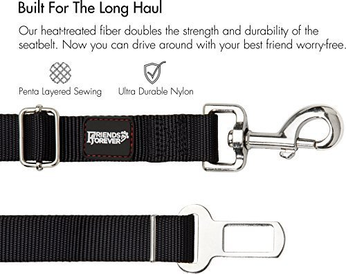 Friends Forever Dog Seat-Belt, Adjustable 2-Pack Black Nylon Vehicle Tether for Pets, Cat Car Restraint Lead