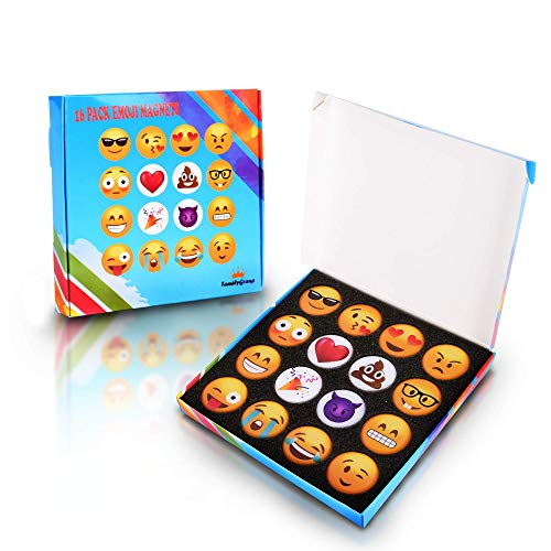 Emoji Fridge Magnets for Kitchen Refrigerator - Funny Emoji Magnets for Dry Erase, Office Whiteboard, Kids Locker Door Decorations - Magnetic Accessories,Supplies, 16pc Set -
