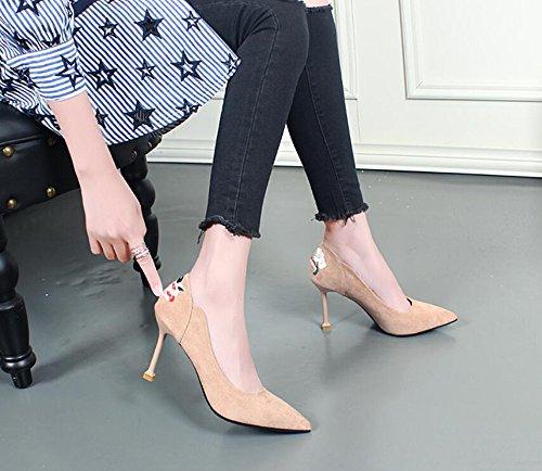 KHSKX-Bereits Im Frühjahr Neue Wildleder High Heels Die Koreanische Farbe Alle Treffer Schuhe Schuhe Schuhe Schuhe Herbst Katze Nude color