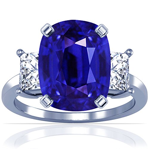 18K-White-Gold-Cushion-Cut-Blue-Sapphire-Three-Stone-Ring-GIA-Certificate