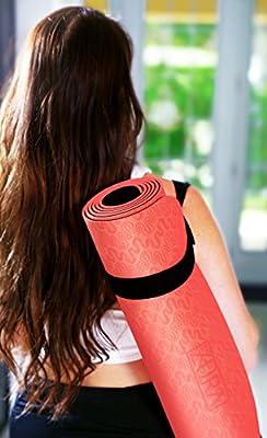ZURA ZuraYoga Nonslip Travel Yoga Mat, Best Reversible 2-in-1 Eco-Friendly Yoga Mat - Lightweight Exercise Mat, 5 mm Thick (Red Black)