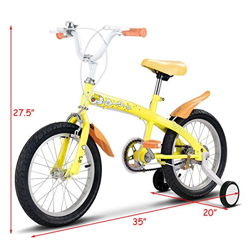 FDInspiration Yellow 45'' x 31.5'' Metal Frame Kids Bike w/Training Wheels with Ebook by FDInspiration (Image #4)