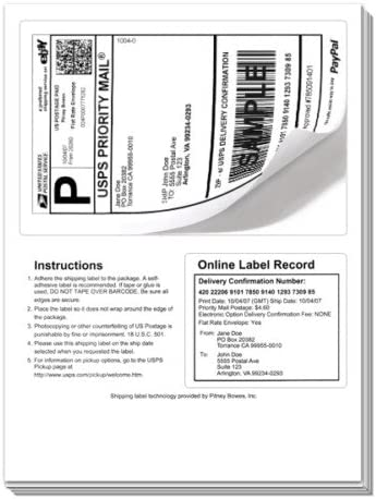 200 Shipping Labels with Tear off receipt Designed for  /& PayPal printing