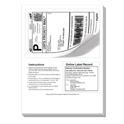 50 Click Ship labels with Tear Off Receipt. These should be used if you are printing online postage with popular internet shipping sites. Print the label - flip over the page and print you packing slip packing slip - Great value for high quality! Only from Universal Labels!