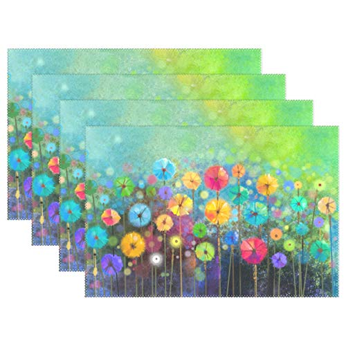 Seasonal Nature Spring Summer Autumn Winter Flowers Placemats for Dining Table Heat Resistant Kitchen Table Decor Washable Table Mats Set of 6 (Summer Placemats)