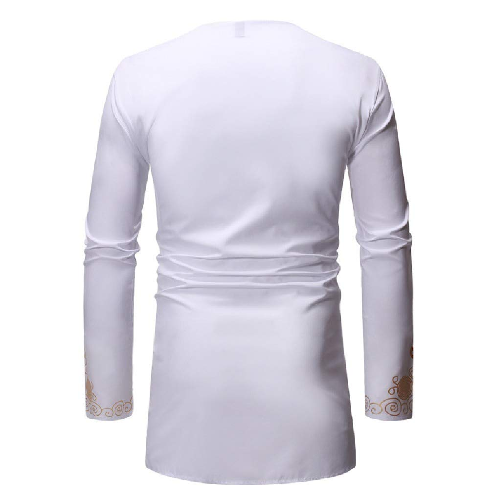 Winwinus Men Long Sleeve Floral Printed Relaxed Mid-Long African T-Shirt