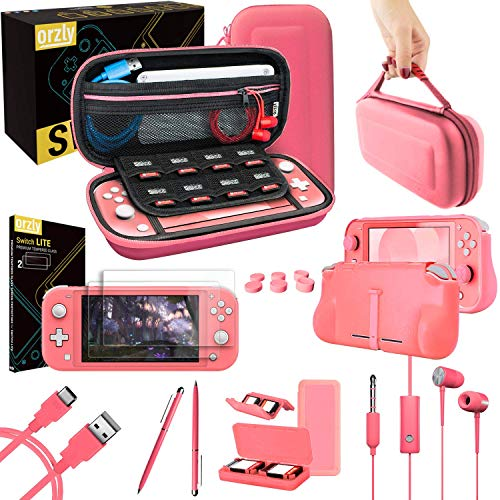 Orzly Accessories Bundle Compatible for use with Nintendo Switch Lite - Protective Case & Screen Protector, USB Cable, Games Holder, Grip Case, Headphones, Thumb-Grip Pack & More (Coral)