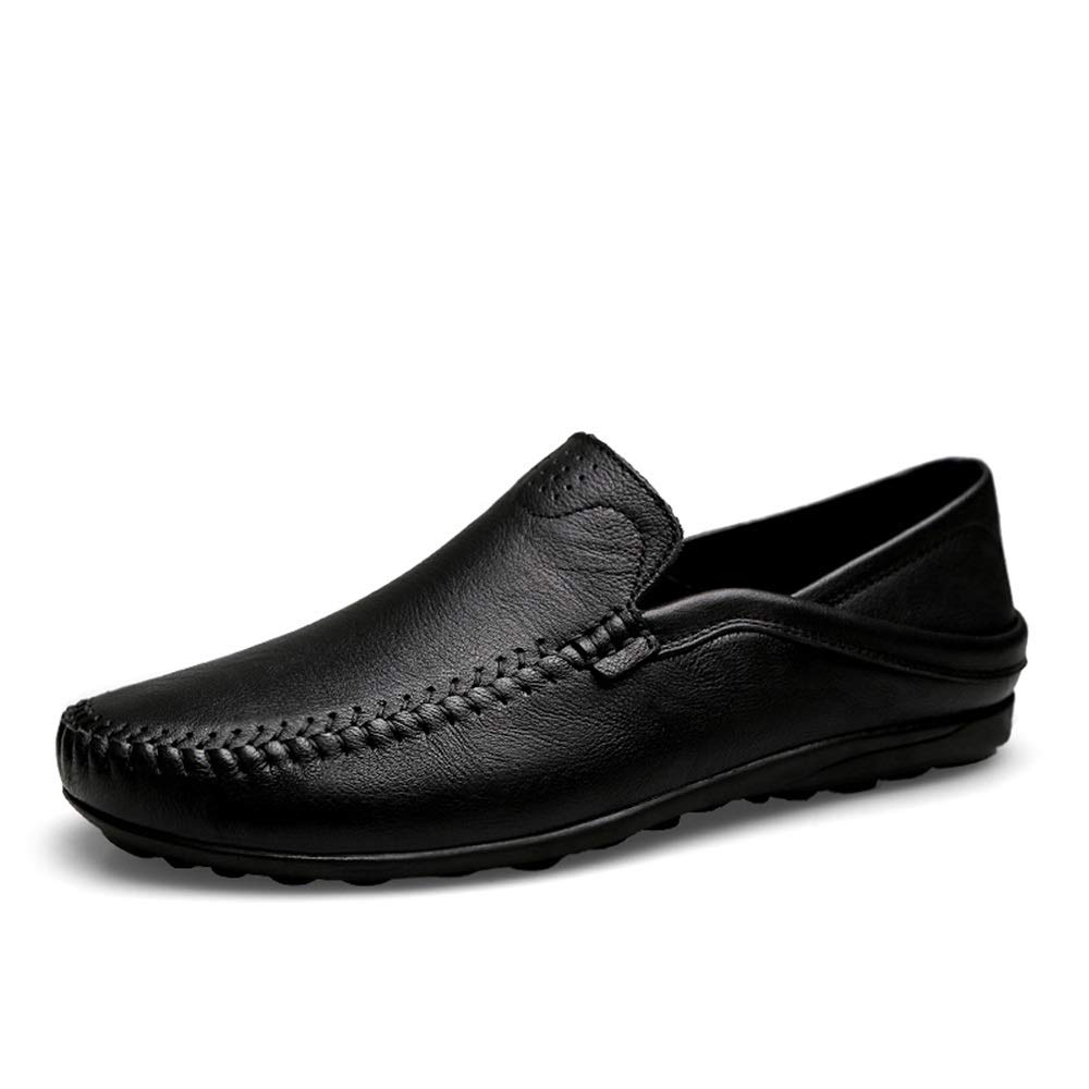 Black Mens loafers Flats Men's Light-Weight Soft Leather Upper Flat Lined Driving shoes Durable Breathable Elastic Slip-on Round Toe Penny Loafers (color   Black, Size   5.5 UK)