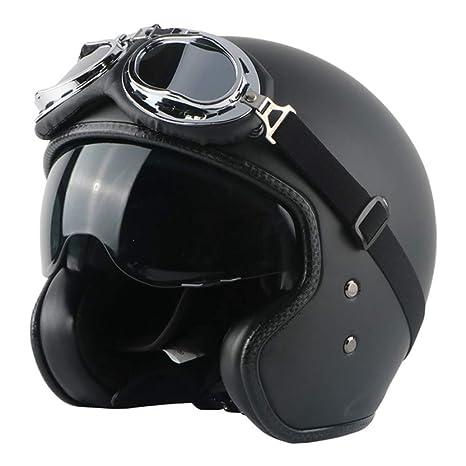 VOSS Motorrad Retro Helme Vintage Pers/önlichkeit Jet Helme F/ür Harley Bobber Chopper Motorrad Jethelm Cruiser Unisex Leder Crash Helme