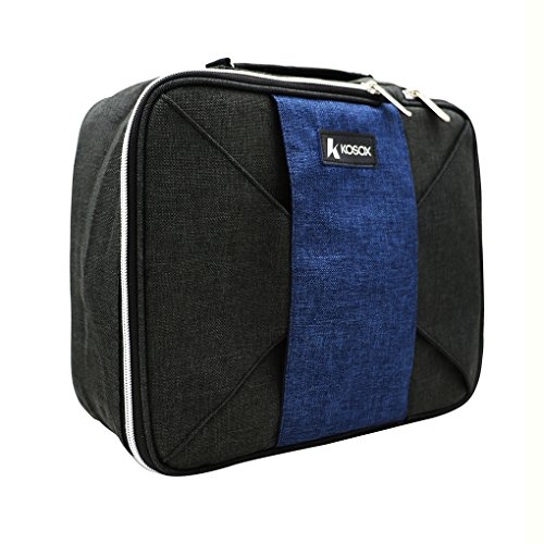 KOSOX Thermal Insulated Lunch Tote Cooler Bag Unisex Lunchbox with Adjustable Shoulder Strap(Black Blue) - New Black Tote Bag