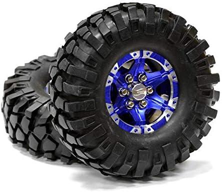 Integy RC Model Hop-ups C24753BLUE Billet Machined 6 Spoke XQ 1.9 Wheel & Tire (2) for Scale Crawler (O.D.=110mm)