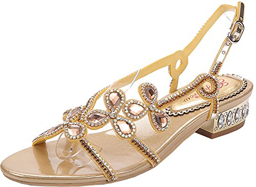 Salabobo L024 Womens Falts Glaring Beautiful Pretty Performance Rhinestone Wedding Dress Bride Bridemaid Party Work Job Leisure Antiskid Pregnant Shoes Gold